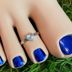 Jewelry - Heart faceted CZ sterling silver toe/midi ring
